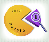Pareto pie. Pareto principle - the key twenty percent is under magnifying glass Stock Image