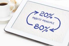 Pareto 80-20 principbegrepp på servett arkivbilder