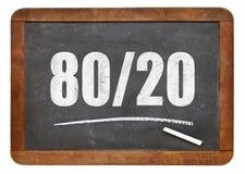 Pareto principle, eighty-twenty rule on blackboard Royalty Free Stock Photography