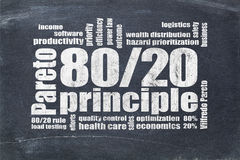 Pareto principle, eighty-twenty rule Stock Photos