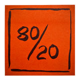 Pareto principle on isolated sticky note Stock Photos