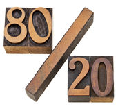 Pareto principle in letterpress type Stock Image