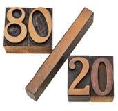 Pareto principle in letterpress type stock image