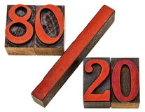 Pareto principle in letterpress wood type Royalty Free Stock Photography