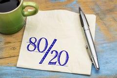 Pareto principle on napkin with coffee stock photo
