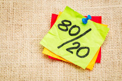 Pareto principle on sticky note stock images