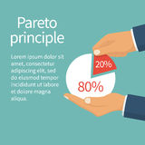 Pareto principle vector. Pareto principle. 20 of efforts give 80 of the result. Market share business. Businessman holding in hand pie chart. Economic financial stock illustration