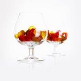 Parexponeringsglas med godisar Arkivbilder