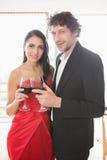 parexponeringsglas som rostar wine Arkivfoto