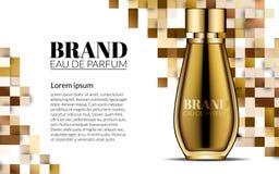 Parfüm-Design-Glasflaschen-Luxuskosmetik-Produkt-Werbung für Katalog-Zeitschrift Hintergrund Design des Pakets Lizenzfreies Stockbild