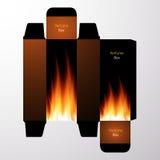 Parfüm-Kastendesign mit Feuervektorrahmen Stockfotos