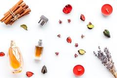 Parfüm mit hellem fruchtigem, Blumen-, würzigem Duft Bestandteile für Parfüm Flasche Parfüm nahe trockenen Blumen lizenzfreies stockbild