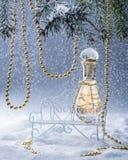 Parfümflasche auf der Bank in den schneebedeckten forestSpruce Niederlassungen wird von den Goldperlen verziert Lizenzfreie Stockfotos