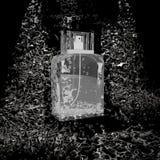 Parfümflasche gelegen auf den Steinen im Wasserstrom Lizenzfreie Stockbilder