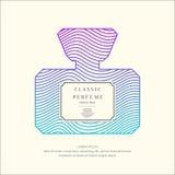 Parfümflasche mit dynamischen Linien und Wellen Helles modernes Plakat für Werbung und Verkauf Duft lizenzfreie abbildung