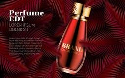 Parfümflasche-Schablonen-süßes rotes Blatt-Design Art Abstract Ausgezeichnete Kosmetik-Werbung Kosmetische Verpackungsgestaltung Lizenzfreies Stockfoto