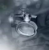 Parfümflaschen auf einem dunkelgrauen Hintergrund Lizenzfreie Stockfotos