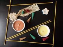 Parfümierter Kerzensatz stockbilder