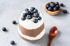 Parfait à pudding de Chia avec du yaourt, les myrtilles et le chocolat Photographie stock