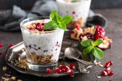 Parfait à pudding de Chia avec la grenade, la granola et le yaourt grec léger images libres de droits