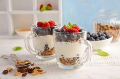 Parfait à yaourt avec la granola et les baies fraîches, concept sain de petit déjeuner photo libre de droits