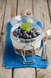 Parfait югурта с granola и свежими голубиками, здоровой концепцией завтрака Стоковые Фотографии RF