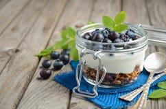 Parfait югурта с granola и свежими голубиками, здоровой концепцией завтрака Стоковая Фотография RF
