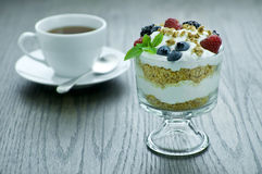 Parfait. Picture of parfait and a cup Royalty Free Stock Photo