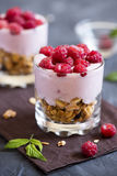 Parfait dessert with raspberries and granola. Homemade organic fresh parfait dessert with raspberries and granola, selective focus Royalty Free Stock Photography