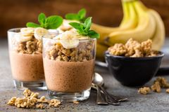 Parfait mergulhado do pudim do chia do chocolate com banana, granola e iogurte, sobremesa fotografia de stock