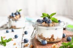 Parfaits голубики с греческим Granola йогурта и свежей мятой стоковые фото