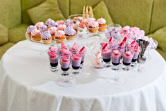 Parfe dessert and cupcakes Stock Photos