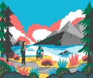 Parfotvandrare som fotvandrar i berglandskap och tycker om dalsikt stock illustrationer