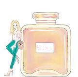 Parfum bottle and blonde girl. Fashion illustration for beauty makeup artist pinup Royalty Free Stock Image