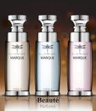 Parfum de collection de bouteilles de parfum de femmes Conceptions d'emballage réalistes de produit de vecteur Image stock