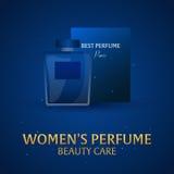 Parfum du ` s de femmes de bannière Soin de beauté Bouteille classique de parfum Aromatherapy de luxe liquide de parfum Illustrat Photographie stock