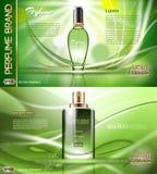 Parfum en verre vert de vecteur de Digital Photos stock