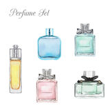 Parfum watercolor set. Perfume watercolor set isolated on white background Stock Images