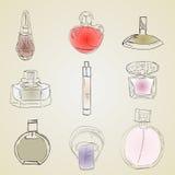 Parfume embotella el ejemplo del bosquejo ilustración del vector