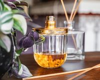 Parfymera flaskan och r?kelse royaltyfria foton