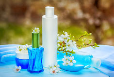 Parfymerat kosmetisk och badproduktbegrepp royaltyfri fotografi