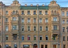 Parfyonov前有益的房子在涅夫斯基大道的在圣彼得堡,俄罗斯 图库摄影