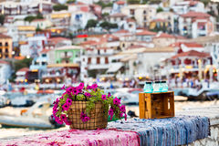 Parga沿海希腊镇 免版税库存图片
