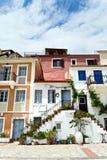 parga的地中海房子 免版税库存照片