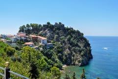 Parga,伊庇鲁斯同盟-希腊 Parga在市普雷韦扎和伊古迈尼察之间的爱奥尼亚人海岸说谎 Parga城堡  库存图片