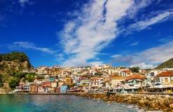 Parga,希腊早晨视图  免版税图库摄影