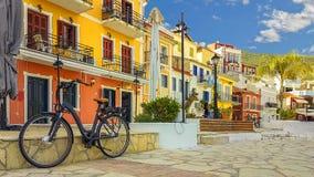 Parga city buildings bike colors in Epirus Greece Stock Photos