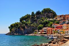 Parga, Epirus - Greece. Colorful houses amphitheatrically built next to the castle of Parga. Great place for summer vacations royalty free stock image