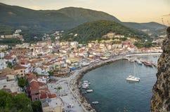 Parga Grecia - tramonto - vista dalla fortezza fotografie stock libere da diritti
