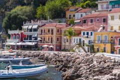 Parga, Greece, 14 October, 2017 Panorama of the center of the town of Parga in Greece. royalty free stock photo